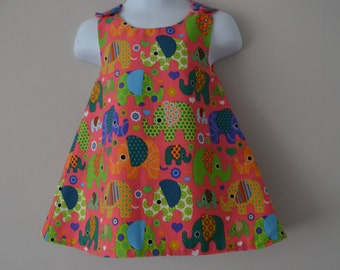 Coral Elephant Toddler Dress, 1st Birthday Present, Pinafore Dress, Reversible A Line Dress, Size 1 Year, Party dress,