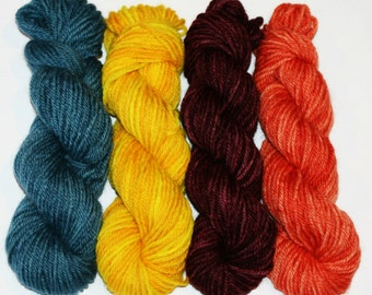 Mini skein set of 4, approx. 25g each, 8ply / DK, Bluefaced Leicester Wool, Superwash.