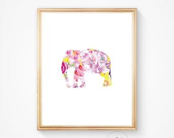 Elephant print, Elephant art, Elephant wall art, Nursery decor, Elephant decor, Printable art, Elephant art print, Watercolor elephant