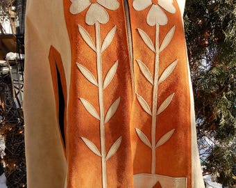 Incredible 1960's/1970's Flower Child Hippie Suede Brown Zip Front Cape/Poncho Flowers sz S
