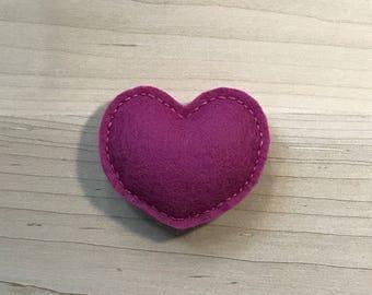 Mulberry Heart, 100% Wool Felt Cat Nip Teaser Toy
