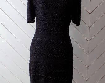 Blacked Beaded Silk | Vintage 1980's beaded silk Scala Dress | S
