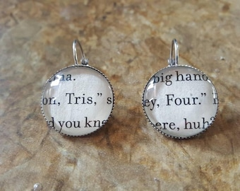 Divergent Tris and Four book page earrings