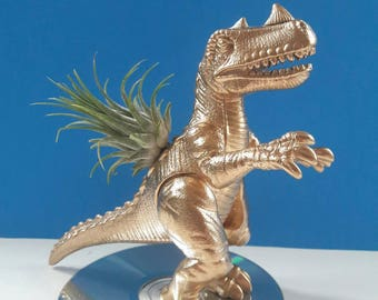 Upcycled Dinosaur Air Planter With CD Base, Dinoplanter, Air Planter, Recycled, Repurposed Dinosaur Planter, Made By Mod.
