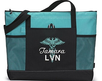 Caduceus, RN, LVN, CNA, Personalized Embroidered Tote Bag with Mesh Pockets, Gift for Nurse, Graduation