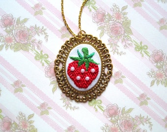 Hand Embroidered Gold Strawberry Necklace