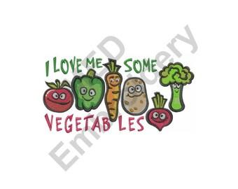 Vegetables - Machine Embroidery Design, I Love Vegetables