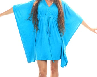 Kaftan Mini Dress - Boho Style Caftan in Aqua Jersey Knit - Lots of Colors