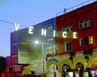 Venice Beach California Hanging Sign Lights Night Architecture Fine Art Photograph Print Photography Vintage Soft Mood Beautiful