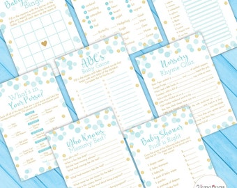 Blue and Gold Baby Shower Game Package, Baby Shower Game Set, Boy Baby Shower, blue Gold Glitter Confetti - PRiNTABLE INSTANT DOWNlOAD