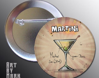 Martini Cocktail Drink Pinback Button Pin