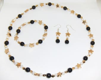 Black and Gold Star Jewelry Set (Necklace, Bracelet and Earrings)