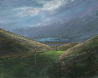 Golf Art. Golf Wall Decor. Golf Gift. Ballybunion Golf Course, Ireland. Print of original acrylic painting.