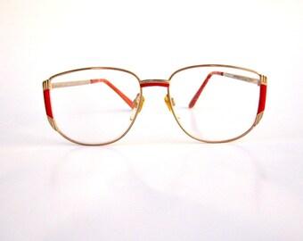 Vintage 80s eyeglasses / red gold metal deco frame / large round eyeglasses / gold metal frames