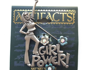 JJ Jonette Jewelry signed BROOCH girl with text 'Girl Power!' daisies pewter hippy vintage pin with original JJ Artifacts card collectable