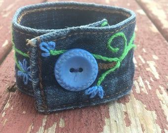 Re-Purposed Denim Hand-Embroidered Cuff Bracelet