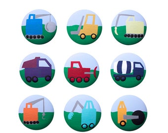 Hand Painted Knob - Children's Custom Hand Painted Construction Vehicle Work Truck Knobs Pulls or Nail Covers for Kids