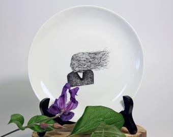 Plate Introvert, Screenprint, black and white, nature print, tableware