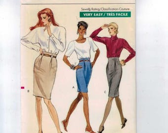 1980s Misses Sewing Pattern Vogue 7282 Misses Easy Pencil Skirt with Pleated Waist Size 6 8 10 Bust 30 31 32 34 1988 80s