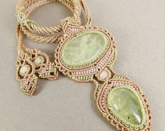 Macrame Pendant, Macrame Necklace, Prehnite And Rose Quartz In Tan, Pink And Pastel Green
