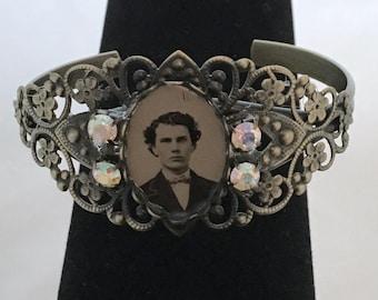 The Boyfriend Bracelet - Antique Tintype Brass Filagree Assemblage