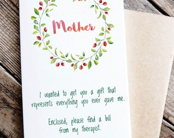 Funny Printable Card for Mother - card about mom and therapist