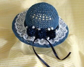 Doll Hat Blue Crocheted Doll Hat Am Girl Doll Hat 18 Inch Doll Hat AG Doll Blue and White Hat AG Doll Hat Blue Summer Hat Crochet Doll Hat