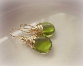 Green Drop Earrings, Gold Wire Wrapped Dangle Earrings, Olive Green Jewelry