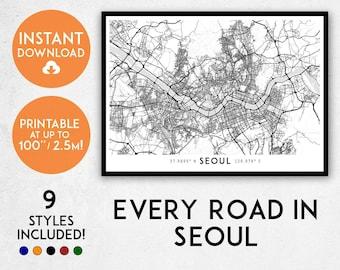 Seoul map print, Printable Seoul map art, Seoul print, Seoul art, Seoul poster, Seoul wall art, Seoul gift, Map of Seoul, South Korea map