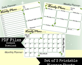 Printable Matching Woodland Theme Daily Weekly Monthly Planner Sheets to print yourself