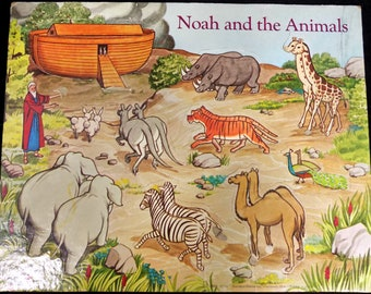 Noah Ark puzzle - Bible puzzle -Vintage jigsaw puzzle , Vintage  Frame Tray Puzzle  -Preschool Jigsaw Puzzle -Sunday School Tool - # 7