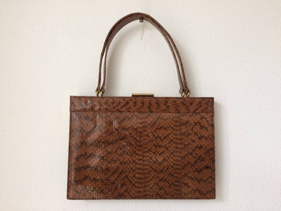 Vintage  brown snakeskin leather handbag made by the Dutch brand Blok van Heijst