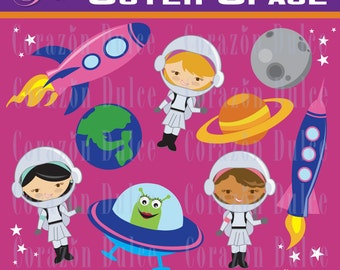 Pink Outer space Digital Clip Art Set - Personal and Commercial Use Clip Art