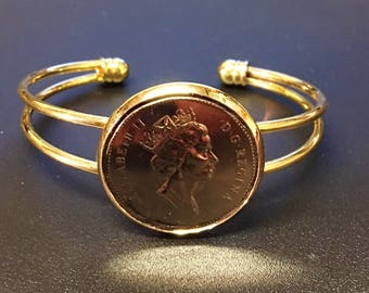Canadian - Coin - Brass - Plated -  Cuff - Bracelet