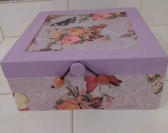 Lilac Butterfly Keepsake Box