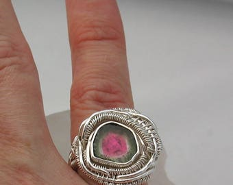 Watermelon Tourmaline Ring Wire Wrapped Ring Heady Wire Wrap Ring Watermelon Tourmaline Slice Sterling Silver Ring Size 6