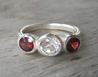 Doti Style 925 Sterling Silver Beaded Birthstone European Ring January - Garnet JtTXnSGHpa