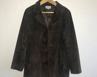 Suede Leather Women Jacket Brown Real Genuine Leather Jacket Vintage Jacket Size Medium to  Large