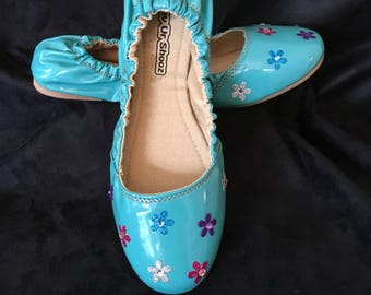 Turquoise Blue Embellished Ballet Flat Women's Shoes New