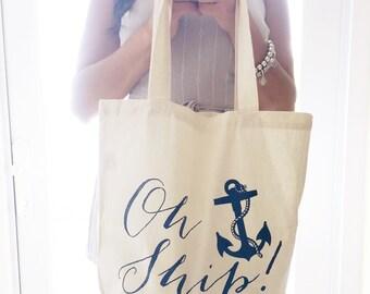 Eco-Friendly Oh Ship Nautical Bachelorette Party Reusable Canvas Tote Bag