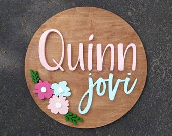 """18"""" Round Floral Name Wood Sign 