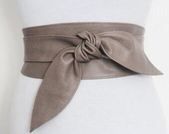 Taupe Brown Leather Tulip Tie Obi Belt | Leather tie belt | Real Leather Belt| Handmade Corset Belt | Plus size belts