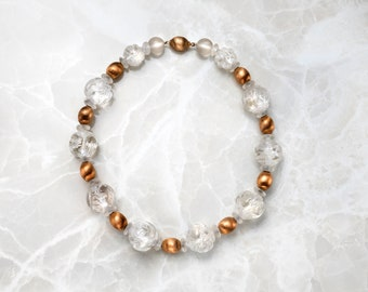 Crystal and Gold Bead Necklace