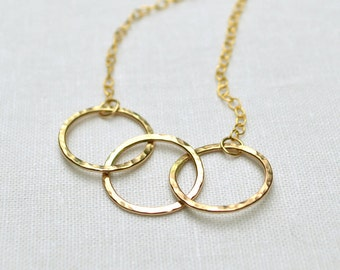 Gold Circle Necklace, 3 Circle Necklace, 14KT Gold Fill, Interlocking Circles, Infinity, Classic, Delicate