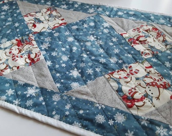 Winter Table Runner, Retro Snowmen, Snowmen Tablecloth, White And Blue, Quilted Placemat