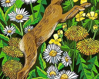 Hare Among the Flowers, DOWNLOAD, digital painting, pen and ink, Hare, spring flowers, housewarming gift, Beltane, Daisies, Dandelions