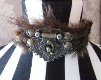 Guinea Fowl Feather Choker with Brass Clasp Goth/halloween/Steampunk many colour