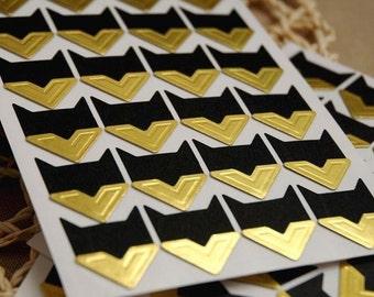 Gold Photo Corners Stickers - 3 Sheets 72pcs, Scrapbooking Embellishment, DIY Journal Stickers, Diary Photo Album, Self-Adhesive