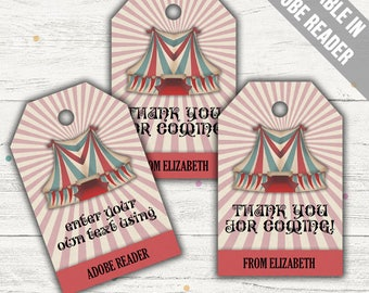 Carnival Party Favor Bag Tags. Printable PDF (EDITABLE). Instant Download.