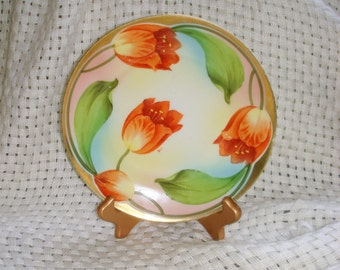 Antique Collectible Plate Dutch Tulip Plate Royal Rudolstadt Prussia Hand Painted Wall Hanging Table Decor